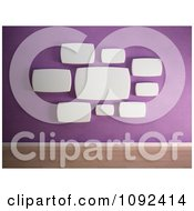 Clipart 3d Rounded White Frames Organized On A Purple Gallery Wall Royalty Free CGI Illustration