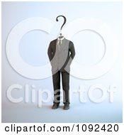 Clipart 3d Business Man With A Question Mark Head Royalty Free CGI Illustration