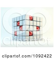 3d Cube Formed With White Squares And Red Spheres