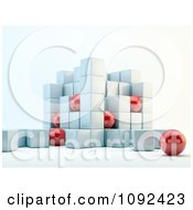 3d Red Spheres And White Cubes