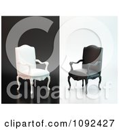 Clipart 3d Black And White Antique Chairs On Opposite Backgrounds Royalty Free CGI Illustration by Mopic