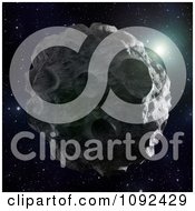 Clipart 3d Cratered Asteroid Floating In Space Royalty Free CGI Illustration