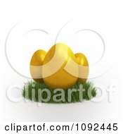 Clipart 3d Golden Easter Eggs In Grass Royalty Free CGI Illustration by Mopic