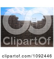 Clipart 3d Ladder Leaning Against An Old Wall And Leading To The Sky Royalty Free CGI Illustration by Mopic