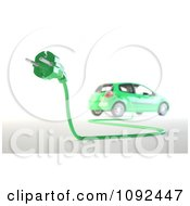 3d Green Electric Car And Euro Plug