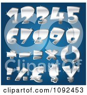Clipart 3d Silver Sparkly Number Design Elements Royalty Free Vector Illustration