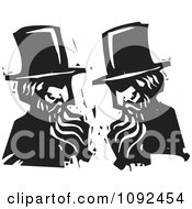 Clipart Men Wearing Top Hats And Talking Face To Face Black And White Woodcut Royalty Free Vector Illustration