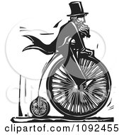 Man Wearing Top Hat And Riding A Penny Farthing Black And White Woodcut
