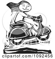 Clipart Happy Girl Catching Air On Her Scooter Black And White Woodcut Royalty Free Vector Illustration