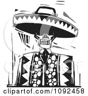 Clipart Day Of The Dead Skeleton Wearing A Sombrero Black And White Woodcut Royalty Free Vector Illustration