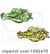 Clipart Green And Yellow Crocodile Or Alligator Heads Royalty Free Vector Illustration by Vector Tradition SM