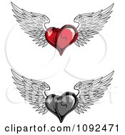 Red And Grayscale Winged Hearts