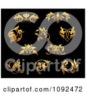 Clipart Ornate Gold Small Flourish Design Elements On Black 1 Royalty Free Vector Illustration