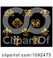 Clipart Ornate Gold Small Flourish Design Elements On Black 2 Royalty Free Vector Illustration