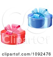 Clipart Blue And Red Round Gift Boxes With Bows Royalty Free Vector Illustration