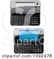 Clipart 3d Black Shiny Slide Phones Royalty Free Vector Illustration