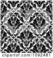 Clipart Black And White Triangular Damask Pattern Seamless Background 6 Royalty Free Vector Illustration