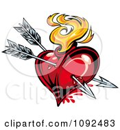 Clipart Two Cupid Arrows Piercing A Fiery Heart Royalty Free Vector Illustration by Vector Tradition SM