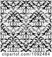 Clipart Black And White Triangular Damask Pattern Seamless Background 7 Royalty Free Vector Illustration