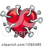 Clipart Pins In A Red Heart Royalty Free Vector Illustration