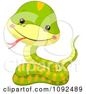 Clipart Cute Baby Zoo Snake Royalty Free Vector Illustration