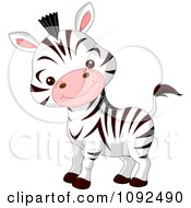 Clipart Cute Baby Zoo Zebra Royalty Free Vector Illustration by Pushkin