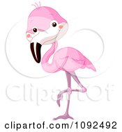 Clipart Cute Baby Zoo Flamingo Royalty Free Vector Illustration by Pushkin