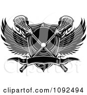 Lacrosse Ball With Sticks A Shield And Black And White Wings