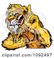 Clipart Strong Lion Mascot Champion Flexing And Holing Up A Finger Royalty Free Vector Illustration by Chromaco
