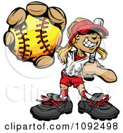 Softball Girl Holding Out A Ball With A Bat Resting On Her Shoulder