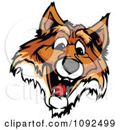 Clipart Happy Fox Mascot Head Royalty Free Vector Illustration by Chromaco