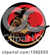 Clipart Cowboy Holding Two Pistols Over A Red Circle Royalty Free Vector Illustration