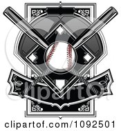 Clipart Baseball With A Diamond Bats And Banner Royalty Free Vector Illustration