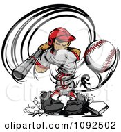 Strong Male Baseball Player Swinging And Hitting The Ball