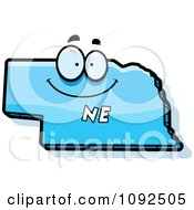Clipart Happy Blue Nebraska State Character Royalty Free Vector Illustration