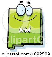 Clipart Happy Green New Mexico State Character Royalty Free Vector Illustration
