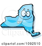 Clipart Happy Blue New York State Character Royalty Free Vector Illustration