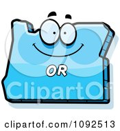 Clipart Happy Blue Oregon State Character Royalty Free Vector Illustration