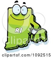 Clipart Happy Green Rhode Island State Character Royalty Free Vector Illustration