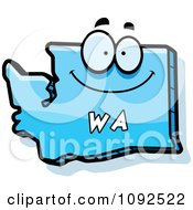 Clipart Happy Blue Washington State Character Royalty Free Vector Illustration