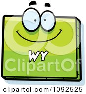 Clipart Happy Green Wyoming State Character Royalty Free Vector Illustration