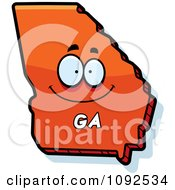 Clipart Happy Orange Georgia State Character Royalty Free Vector Illustration by Cory Thoman