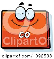 Clipart Happy Orange Colorado State Character Royalty Free Vector Illustration