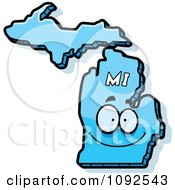 Clipart Happy Blue Michigan State Character Royalty Free Vector Illustration