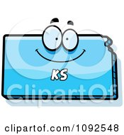 Clipart Happy Blue Kansas State Character Royalty Free Vector Illustration