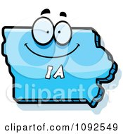 Clipart Happy Blue Iowa State Character Royalty Free Vector Illustration