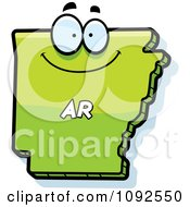 Clipart Happy Green Arkansas State Character Royalty Free Vector Illustration