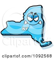 Clipart Mad Blue New York State Character Royalty Free Vector Illustration