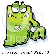 Clipart Mad Green Rhode Island State Character Royalty Free Vector Illustration