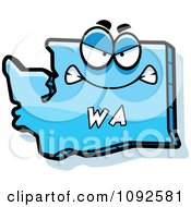 Clipart Mad Blue Washington State Character Royalty Free Vector Illustration